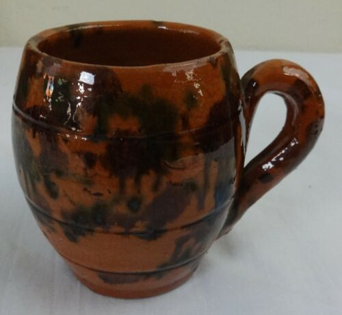 Antique Barrel Form Redware Pottery Mug Maganese & Green Shenandoah Valley