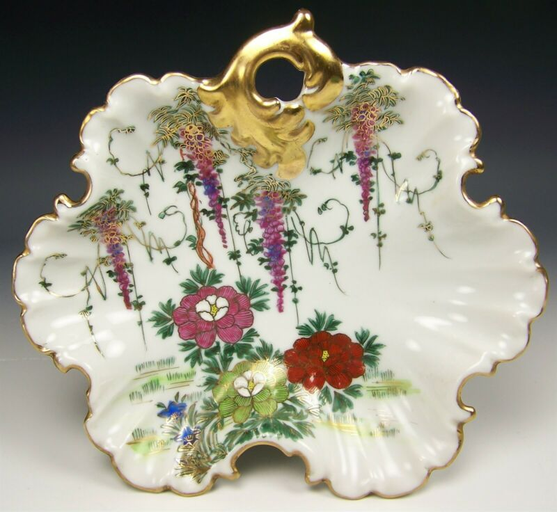 VINTAGE HAND PAINTED WISTERIA & FLOWER GOLD GILT CANDY BOWL DISH