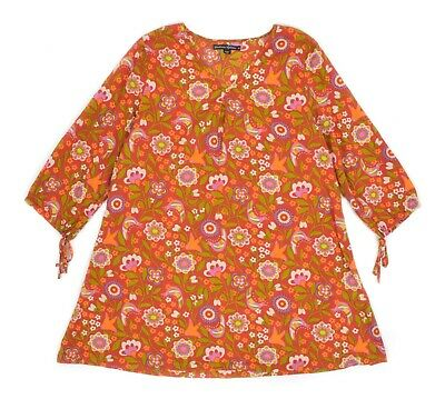 Womens Gudrun Sjoden Organic Cotton Floral Tunic Loose Fit Multicolor Size M