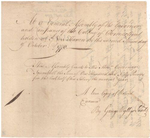 Handwritten Document Signed by Jonathan Trumbull in 1770 w/COA