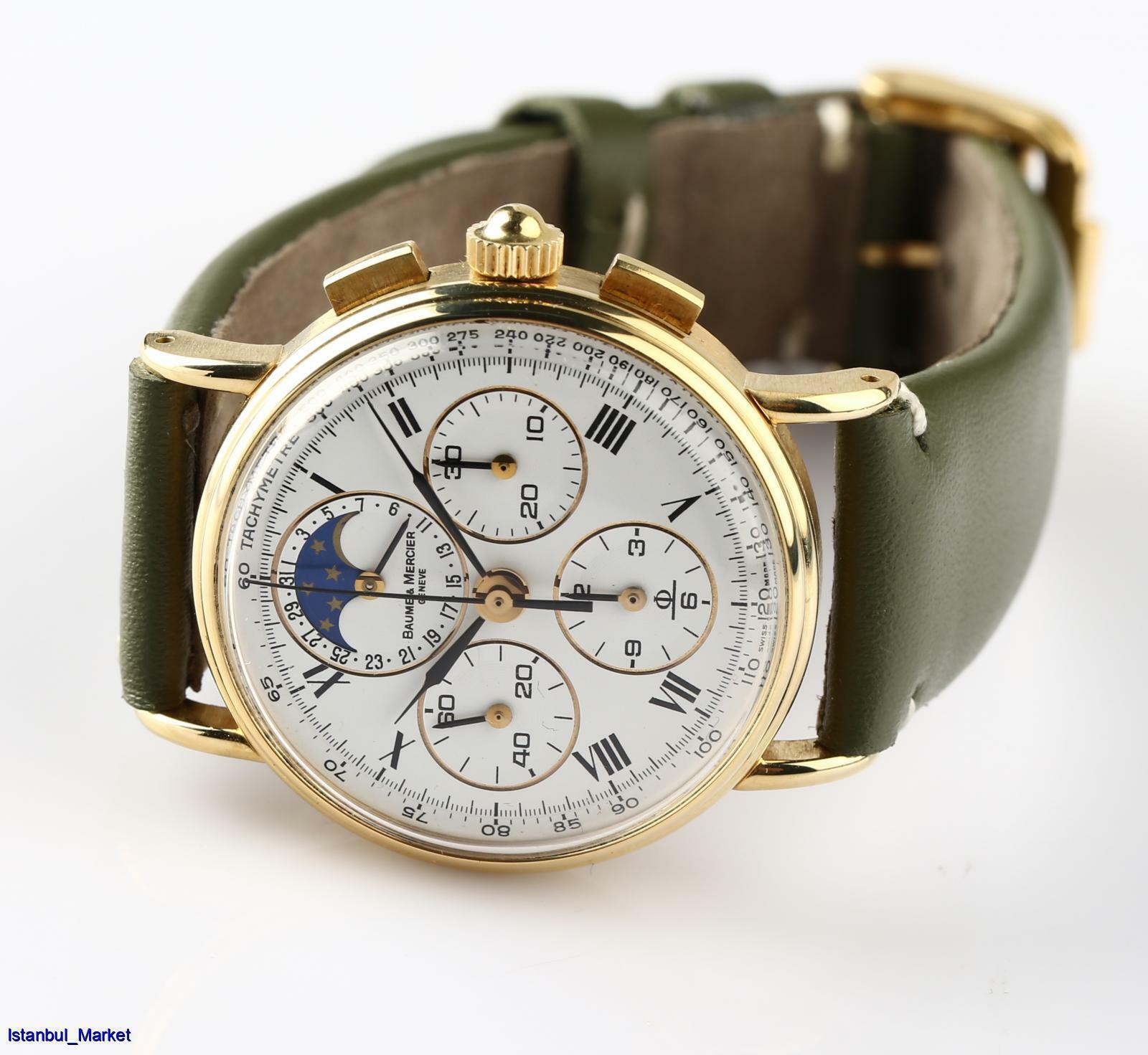 Vintage Baume Mercier Ref 6102099 18k Yellow Gold Chronograph Unisex Wristwatch - watch picture 1