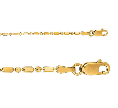 14k Yellow Gold 1.5mm Shiny Diamond Cut Alternating Bar Bead Chain 18