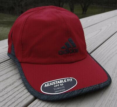 "NWT ADIDAS ClimaLite ""SuperLite"" Mens Run/Tennis Adj Hat-OSFM @$24 DARK RED/GRAY"