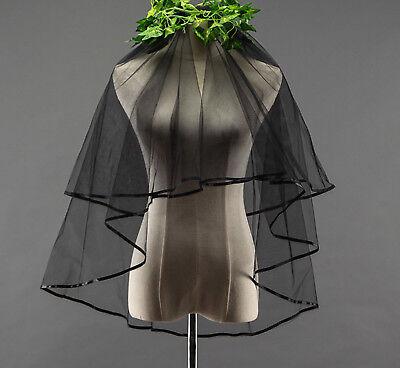 Women Black Halloween Bride 2 Layers Wedding head hair Veil with comb accessory