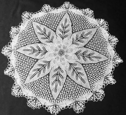 """Antique Vintage Gorgeous Hand Knitted Delicate Snow White Large Doily 16 1/2"""" D"""