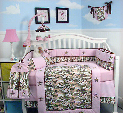 Khaki & Light Pink Camo Baby Crib Nursery Bedding 10 pcs Set