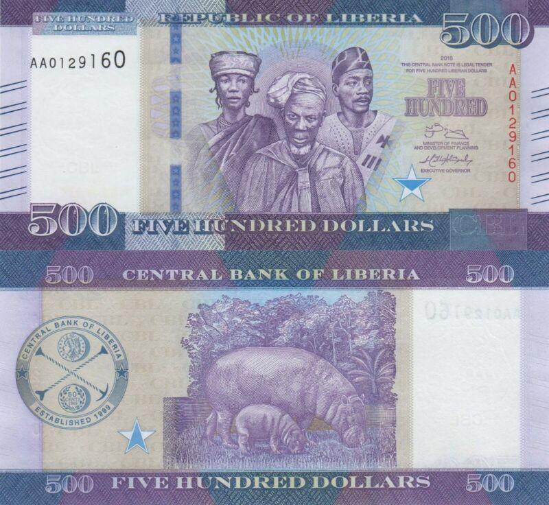 Liberia 500 Dollars (2016) - Liberian People/Hippos/p35 UNC
