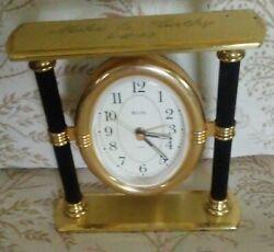 Bulova Quartz Mantal/Tabletop Clock-German Movement-Black & Gold *VINTAGE*.