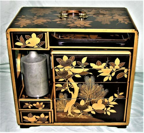 Japanese Lacquer Sake Bento Chest Lunch Box Set