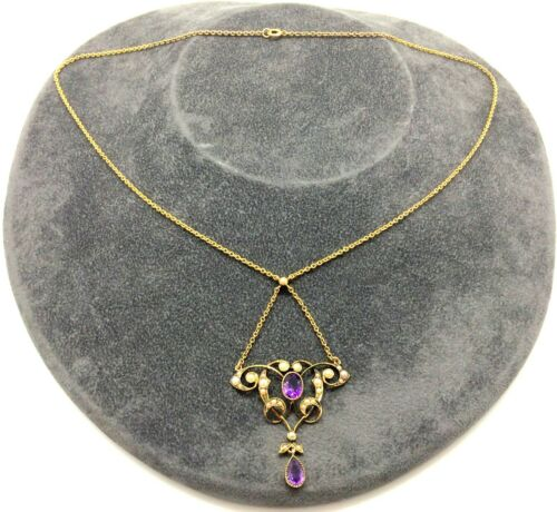 Antique Art Nouveau 15ct Gold Amethyst Stone & Seed Pearl Lavaliere Necklace