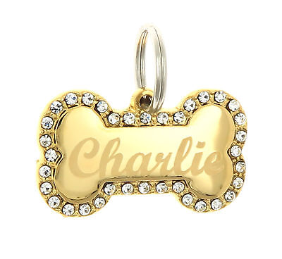 Custom Engraved Personalized Gold Bone Shape w/ CZ Dog Metal Tag Pet ID - Bone Shape