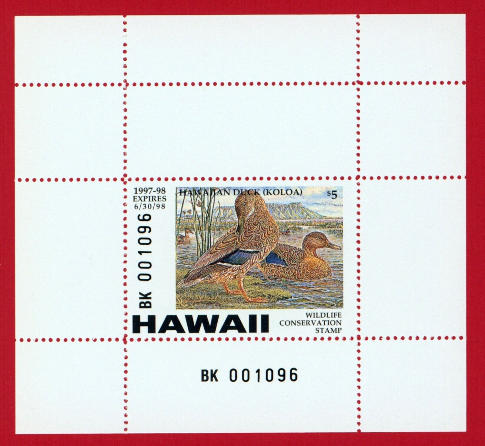 CLEARANCE HI02A 1997 Hawaii Wildlife Conservation Stamp Minisheet - $4.00