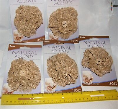 BURLAP FLOWERS  EMBELLISHMENTS   GIFTS  DECOR        5 ITEMS----  #2