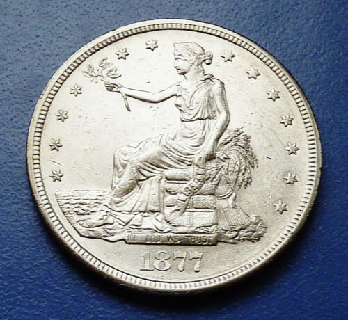 1877-S U.S. LIBERTY SEATED ~ SILVER TRADE DOLLAR ~ ALMOST UNCIRCULATED CONDITION