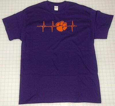 Clemson University Tigers Heartbeat Tee Shirt T-Shirt Purple with Orange