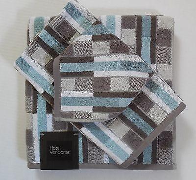 Hotel Vendome Geometric Striped Bath Towels Medium Aqua/Gray/White 3 Pc Set New