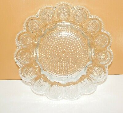 Indiana Clear Glass 1000 Eyes Deviled Egg Relish Plate Dish  ()