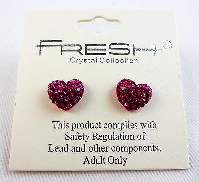 Puffy pink purple heart post earrings crystals studs pierced ears  Crystal Studded Puffy Heart