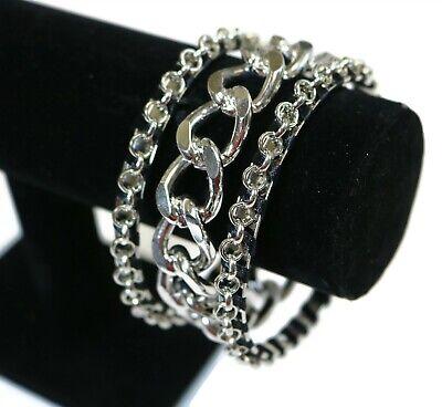 LOT OF 3 Chain Silver Tone Punk Steampunk Gothic Heavy Metal Bangle Bracelets