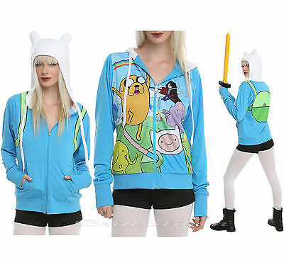 Adventure Time with Jake and Finn Costume Hoodie Ears Cosplay REVERSIBLE S NEW (Jake And Finn Costumes)