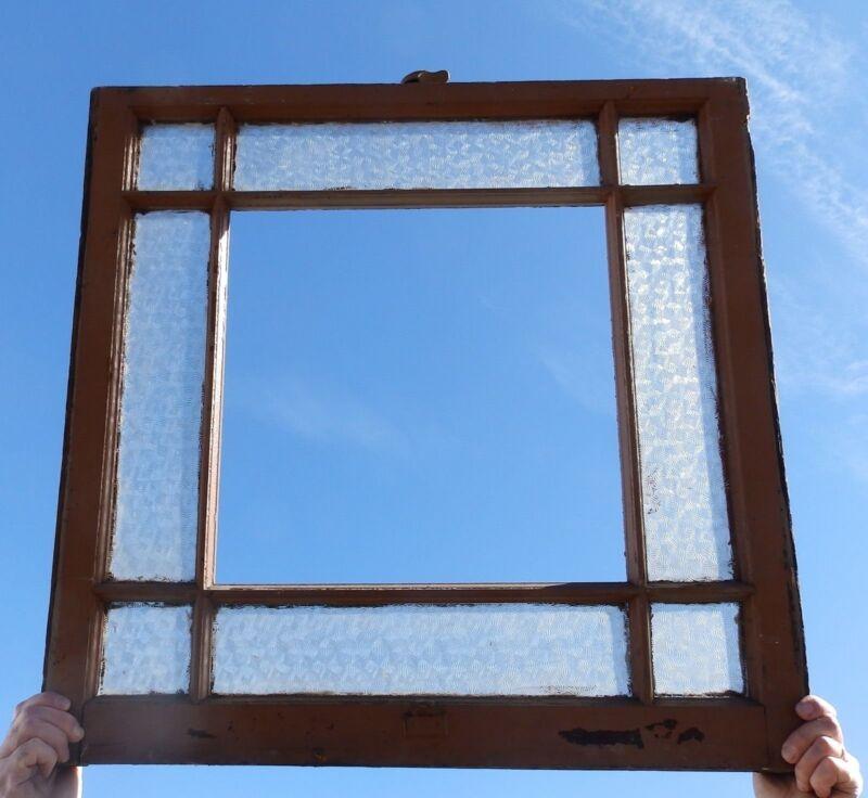 Antique 9 Lite Window Sash 30x30 Textured Privacy Glass Cottage Vtg Old 595-18P