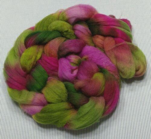 Superwash Wool Combed Top Roving Spinning Handpainted USA NWT Watermelon Tourmal