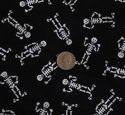 Jo Ann Fabric Cotton Quilting Halloween Skeleton On Black W  Glitter 45 W X 1 Yd