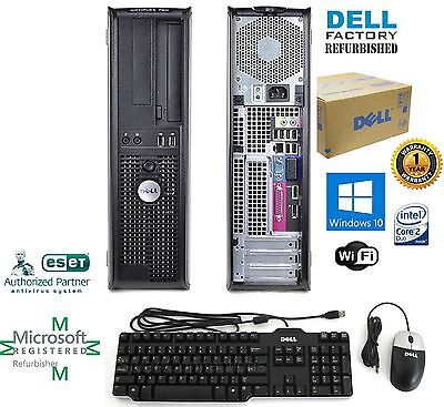 Fast Dell Slim Tower Desktop Computer Core 2 Duo 4GB 750GB Windows 10  - Slim Tower Desktop