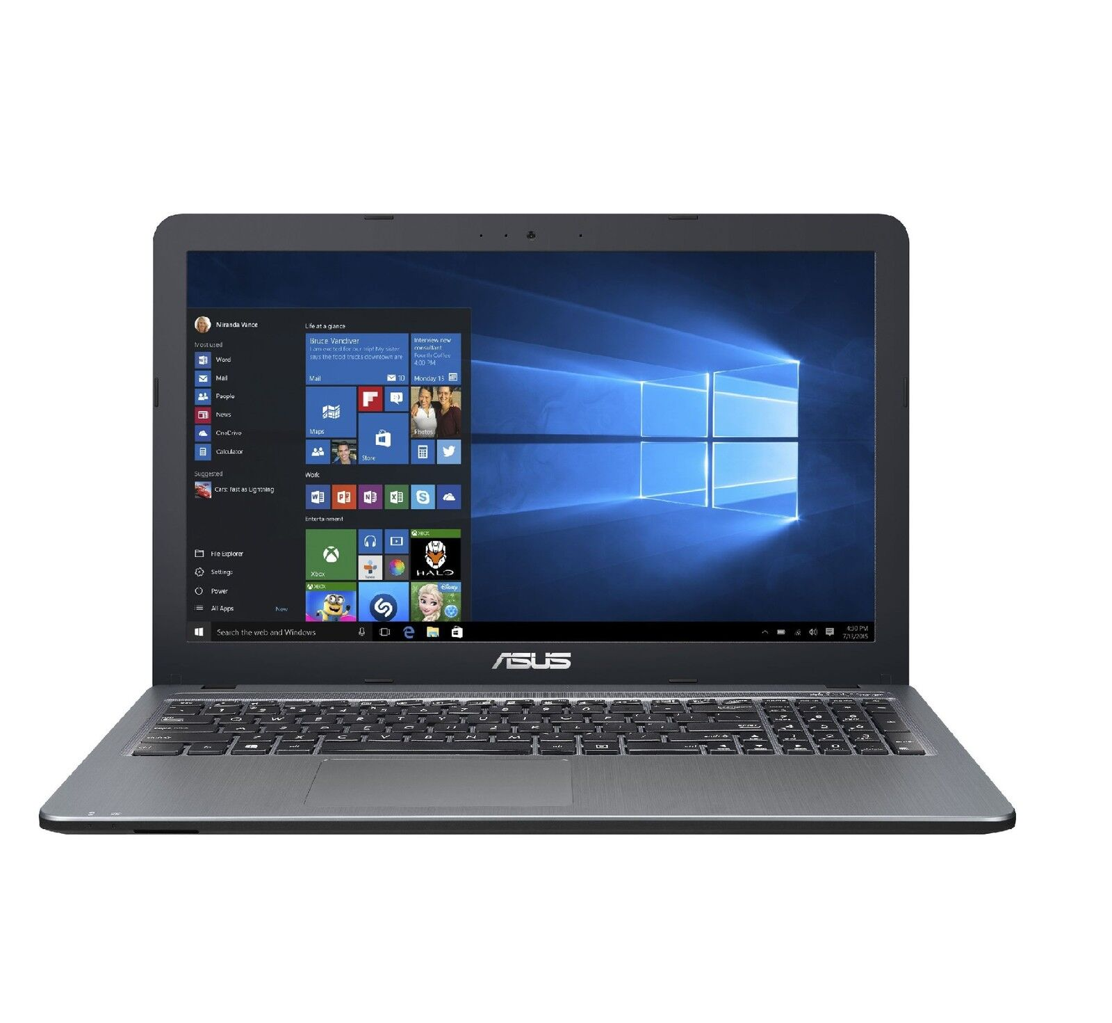 Asus Notebook 15,6 Zoll - Intel Core 2,48 GHz - 500 GB - USB 3.1 Windows 10 Pro