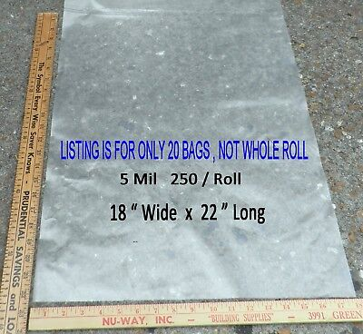 20 CLEAR 5 mil 18 x 22 LARGE POLY PLASTIC BAGS FLAT OPEN TOP - OFF ROLL