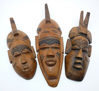 Three Vintage Hand Carved Wooden African Tribal Masks, wood