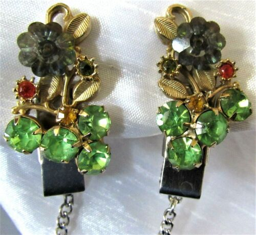 Vintage Green & Red Rhinestones & Gold Tone Sweater Dress Scarf Guard Clip (50