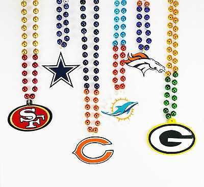 NFL Football Team Bead Necklace With Medallion Logo - Pick Your Team!! - Football Bead Necklaces