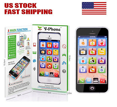 YPhone Mobile Phone Educational Toy Gift For Baby Kids Boys Children Black