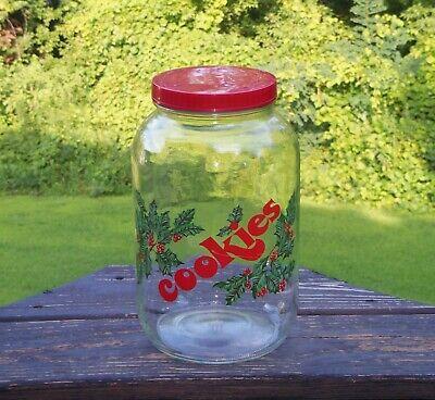 Vintage Mason Cookie Jar Glass Christmas - Apothecary - Large - MCM