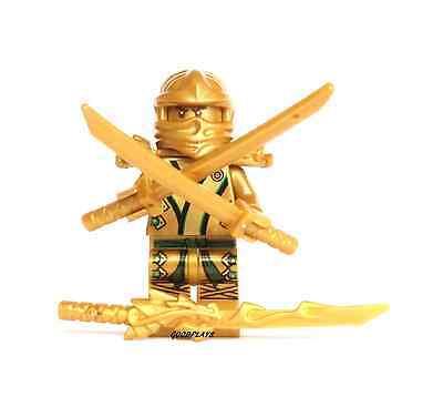 Lego Ninjago Gold Ninja Lloyd with dragon sword & 2 golden swords New 70505