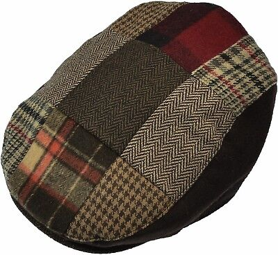 Men's Patch Driving Cap Plaid Newsboy Wool Gatsby  Flat Hat Cabbie Herringbone Mens Wool Caps