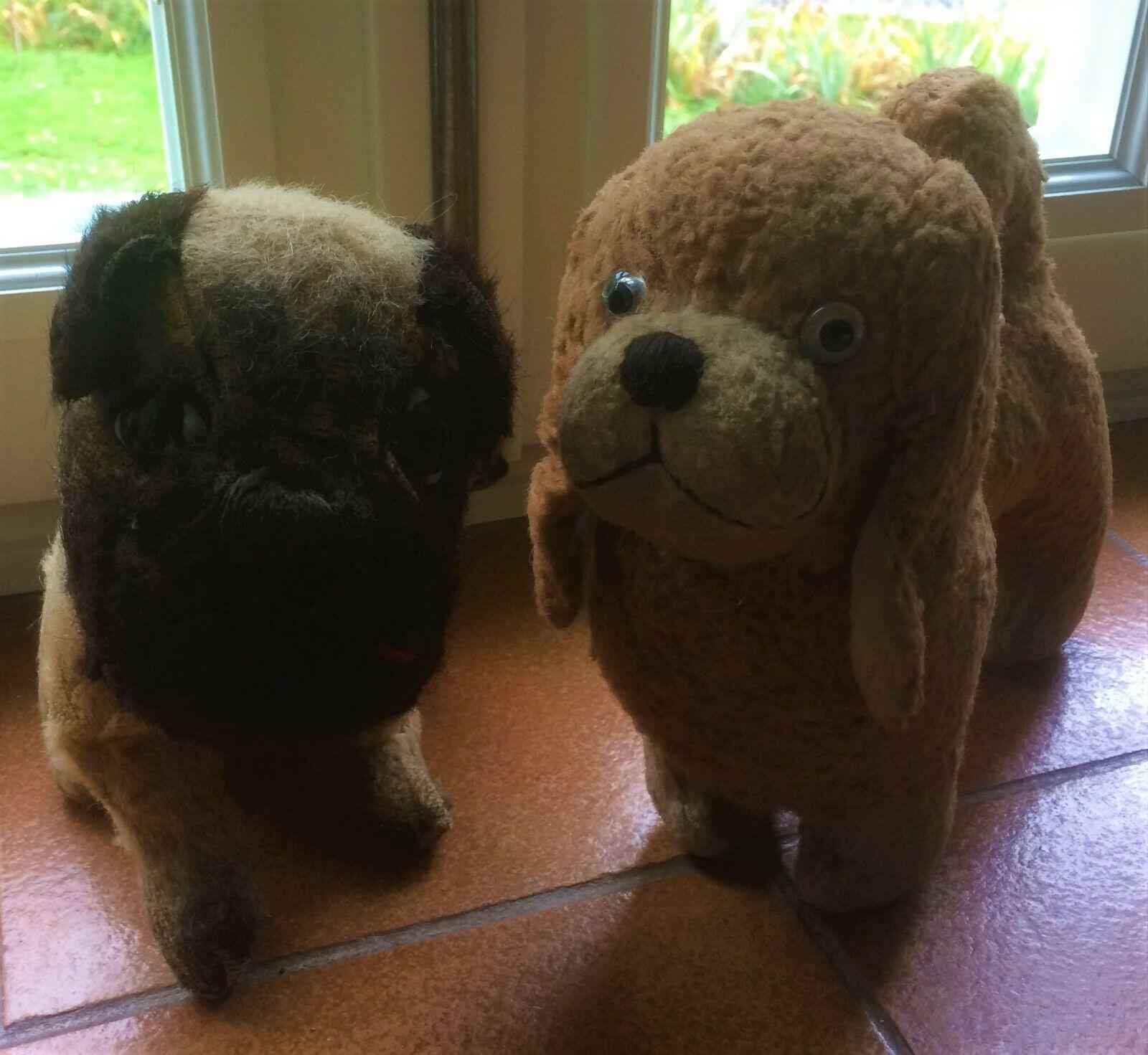 2 chiens peluches bouledogue et shih tzu 1930