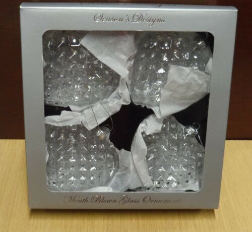 SEASON'S DESIGNS CLEAR GLASS HEART WITH JEWELS ORNAMENT, BOX OF 4