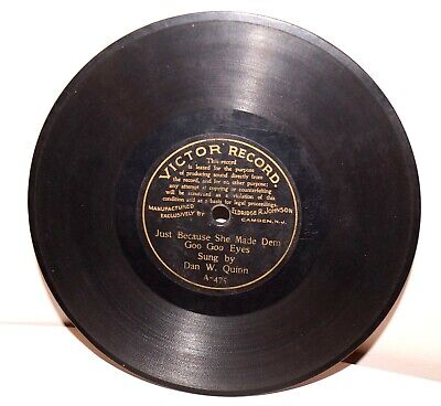 """RARE Antique 7"""" 1st VICTOR RECORD A-475 Phonograph Gramophone 1901"""