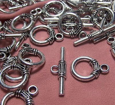 LOT OF 30 TOGGLE CLASP SETS-SILVER ORNATE TIBETAN METAL -JEWELRY MAKING SUPPLIES