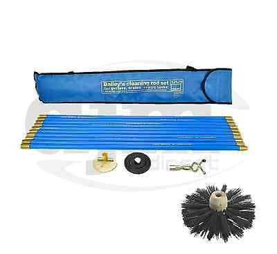 Industrial Bailey Universal 30ft Chimney Brush Sweep Sweeping Drain Rod Set Kit