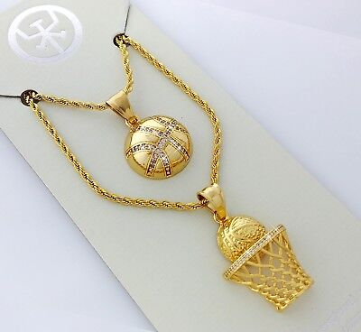 - Two Piece 18K Gold Plated Stainless Steel Basketball Theme Pendant Necklace Set