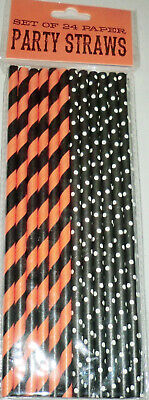 Halloween Party Orange, Black & White Stripes Dots Straws Package 24 Disposable - Black And White Halloween Party