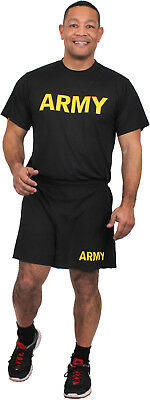 Black Performance Moisture Wicking US ARMY PT Training Workout APFU T-Shirt