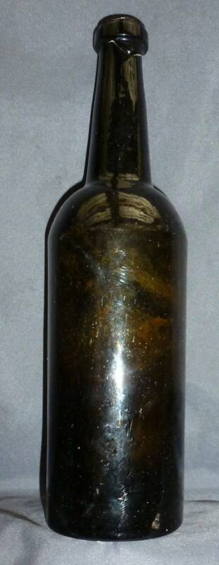 BLACK GLASS WHISKEY BOTTLE-Very Odd Lip-Ring Bottom-1860s
