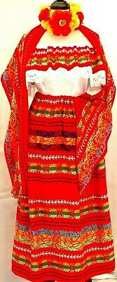 5 de Mayo Mexican Red Maxi Dress 3pc tricolor Embroidery Blouse/Skirt/Shawl 2X