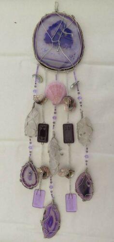 Brazilian Agates/Quartz Crystal/ Fused Glass Handcrafted Windchime/Lavender/NEW