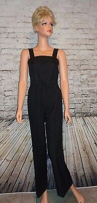RARE Vintage 70s Black Jumpsuit Cat Suit Overalls Disco Bell Bottom Size S EUC