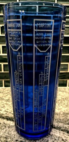 Vintage Large Art Deco Cocktail Shaker Cobalt Blue with Recipes - No Lid
